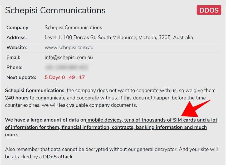 Avaddon Ransomware Schepisi Communications Attack