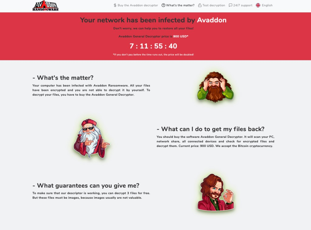 Avaddon Ransomware Attack Message